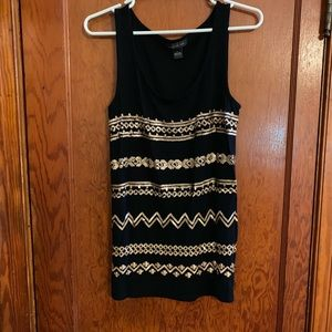 August Silk Large Black and Gold Sequin Tank